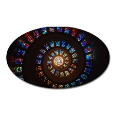 Stained Glass Spiral Circle Pattern Oval Magnet