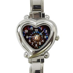 Stained Glass Spiral Circle Pattern Heart Italian Charm Watch