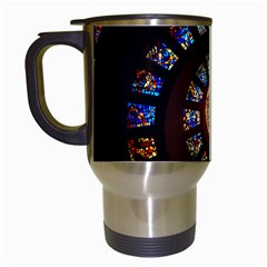 Stained Glass Spiral Circle Pattern Travel Mugs (white)