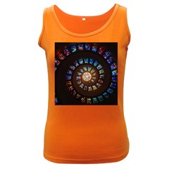 Stained Glass Spiral Circle Pattern Women s Dark Tank Top