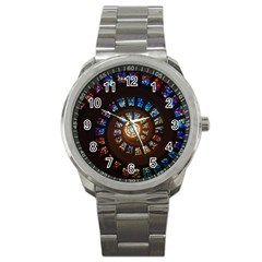 Stained Glass Spiral Circle Pattern Sport Metal Watch