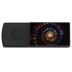 Stained Glass Spiral Circle Pattern Rectangular Usb Flash Drive