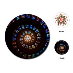 Stained Glass Spiral Circle Pattern Playing Cards (round)