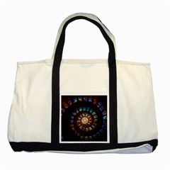 Stained Glass Spiral Circle Pattern Two Tone Tote Bag