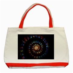 Stained Glass Spiral Circle Pattern Classic Tote Bag (red)