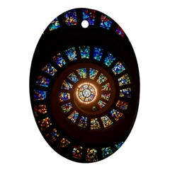 Stained Glass Spiral Circle Pattern Oval Ornament (two Sides)