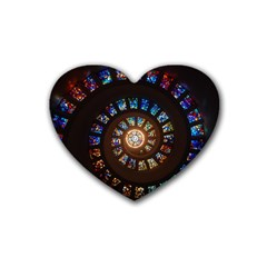Stained Glass Spiral Circle Pattern Heart Coaster (4 Pack)