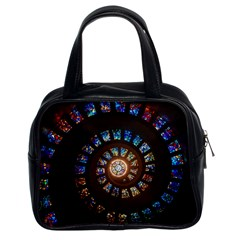 Stained Glass Spiral Circle Pattern Classic Handbags (2 Sides)