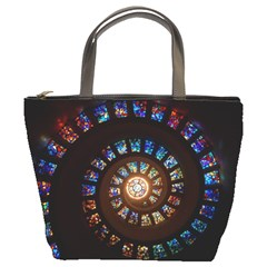 Stained Glass Spiral Circle Pattern Bucket Bags