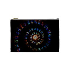 Stained Glass Spiral Circle Pattern Cosmetic Bag (medium)