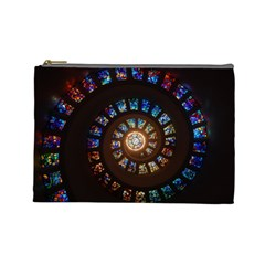 Stained Glass Spiral Circle Pattern Cosmetic Bag (large)