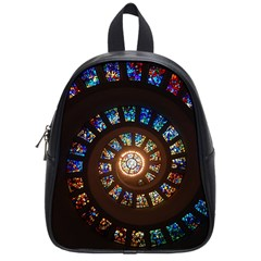 Stained Glass Spiral Circle Pattern School Bag (small)