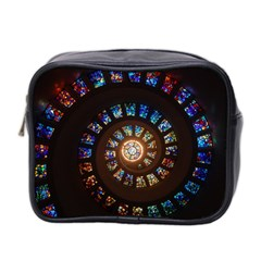 Stained Glass Spiral Circle Pattern Mini Toiletries Bag 2 Side