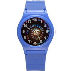 Stained Glass Spiral Circle Pattern Round Plastic Sport Watch (s)