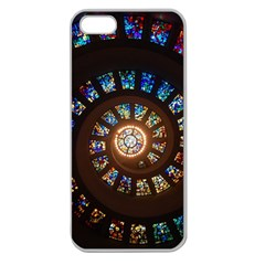 Stained Glass Spiral Circle Pattern Apple Seamless Iphone 5 Case (clear)