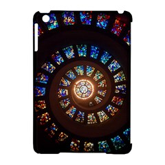 Stained Glass Spiral Circle Pattern Apple Ipad Mini Hardshell Case (compatible With Smart Cover)