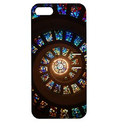 Stained Glass Spiral Circle Pattern Apple Iphone 5 Hardshell Case With Stand