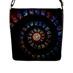 Stained Glass Spiral Circle Pattern Flap Messenger Bag (l)