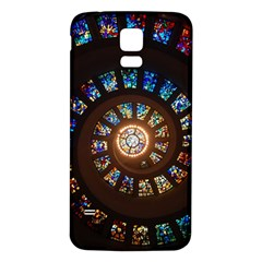 Stained Glass Spiral Circle Pattern Samsung Galaxy S5 Back Case (white)