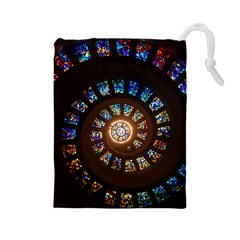 Stained Glass Spiral Circle Pattern Drawstring Pouches (large)