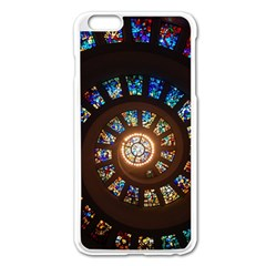 Stained Glass Spiral Circle Pattern Apple Iphone 6 Plus/6s Plus Enamel White Case