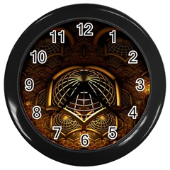 Fractal 3d Render Design Backdrop Wall Clocks (black)