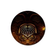 Fractal 3d Render Design Backdrop Rubber Coaster (round)