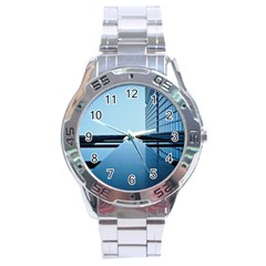 Architecture Modern Building Facade Stainless Steel Analogue Watch
