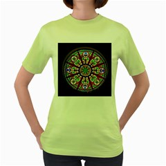 Church Window Window Rosette Women s Green T Shirt