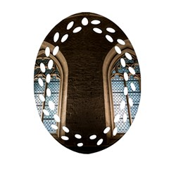 Church Window Church Oval Filigree Ornament (two Sides)