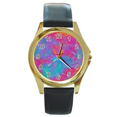 Abstract Fantastic Fractal Gradient Round Gold Metal Watch