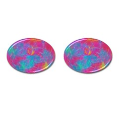 Abstract Fantastic Fractal Gradient Cufflinks (oval)