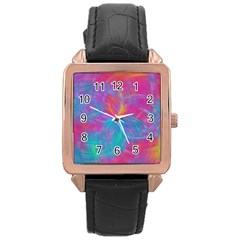 Abstract Fantastic Fractal Gradient Rose Gold Leather Watch