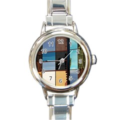 Glass Facade Colorful Architecture Round Italian Charm Watch