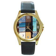 Glass Facade Colorful Architecture Round Gold Metal Watch