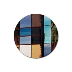 Glass Facade Colorful Architecture Rubber Round Coaster (4 Pack)