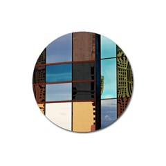 Glass Facade Colorful Architecture Magnet 3  (round)