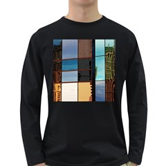 Glass Facade Colorful Architecture Long Sleeve Dark T Shirts