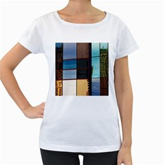 Glass Facade Colorful Architecture Women s Loose Fit T Shirt (white)