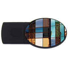 Glass Facade Colorful Architecture Usb Flash Drive Oval (4 Gb)