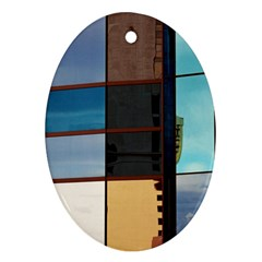 Glass Facade Colorful Architecture Oval Ornament (two Sides)