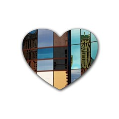 Glass Facade Colorful Architecture Heart Coaster (4 Pack)