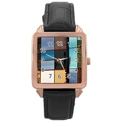 Glass Facade Colorful Architecture Rose Gold Leather Watch