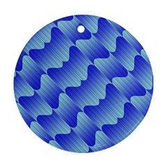 Gradient Blue Pinstripes Lines Ornament (round)