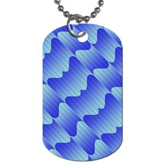 Gradient Blue Pinstripes Lines Dog Tag (two Sides)