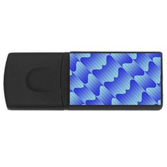 Gradient Blue Pinstripes Lines Rectangular Usb Flash Drive