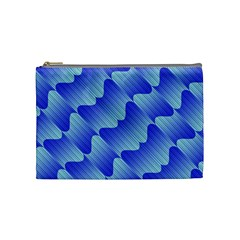 Gradient Blue Pinstripes Lines Cosmetic Bag (medium)