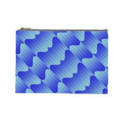 Gradient Blue Pinstripes Lines Cosmetic Bag (large)