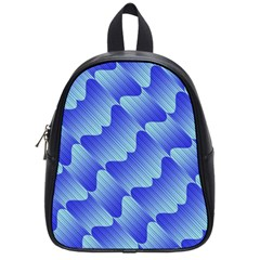Gradient Blue Pinstripes Lines School Bag (small)