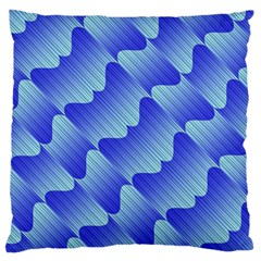 Gradient Blue Pinstripes Lines Large Cushion Case (two Sides)